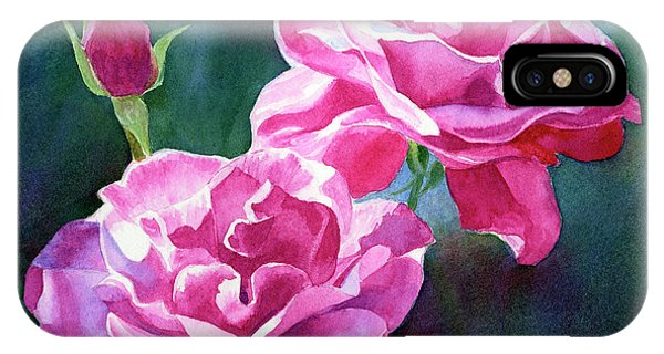Violet iPhone Case - Bright Red Violet Roses With Dark Background by Sharon Freeman