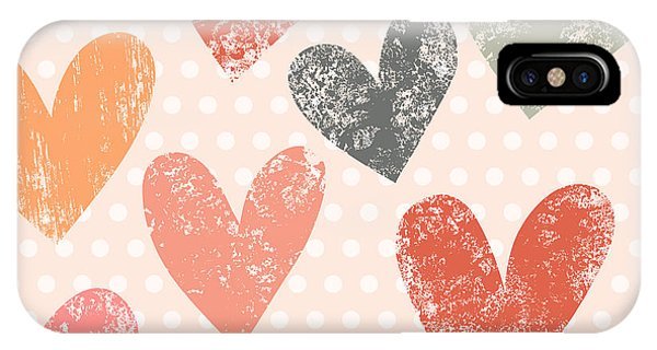 Red Heart iPhone Case - Bright Romantic Seamless Pattern Made by Smilewithjul