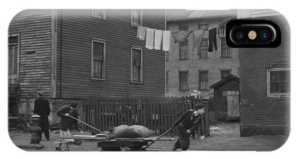 Debts iPhone Case - Bringing Home Some Salvaged Firewood In Slum Area In New Bedford  Massachusetts by Celestial Images