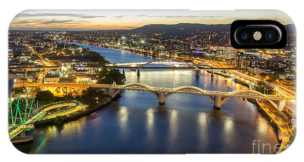 Flooded iPhone Case - Brisbane City, Panorama Aerial Sunset by Gnoparus