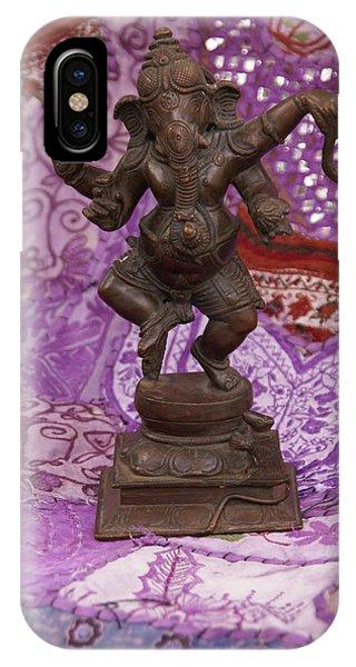Bronze Ganesha Dancing, On Purple IPhone Case