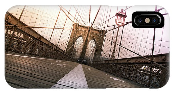 Road iPhone Case - Brooklyn Bridge, New York City by Nicklas Gustafsson