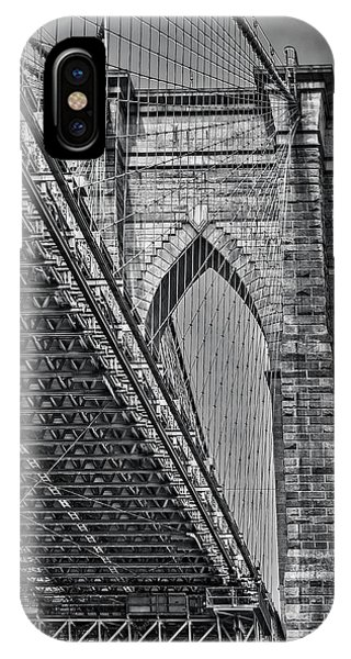 iPhone Case - Brooklyn Bridge Over And Under Bw by Susan Candelario
