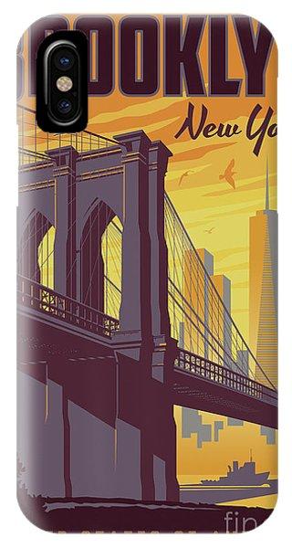 Travel iPhone Case - Brooklyn Poster - Vintage Brooklyn Bridge by Jim Zahniser