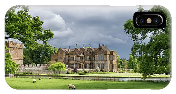 Broughton Castle In Spring Panoramic Phone Case by Tim Gainey