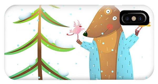 Present iPhone Case - Brown Bear Wearing Warm Winter Coat by Popmarleo