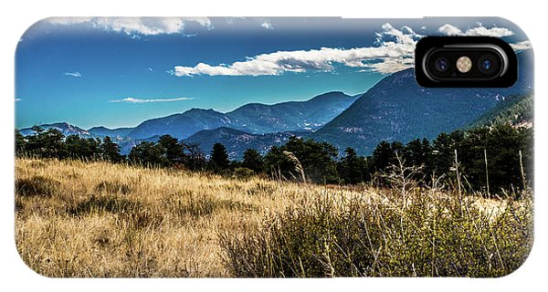 IPhone Case featuring the photograph Brown Grass And Mountains by James L Bartlett