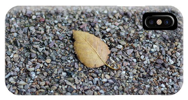 IPhone Case featuring the photograph Brown Leaf On Gravel by Scott Lyons