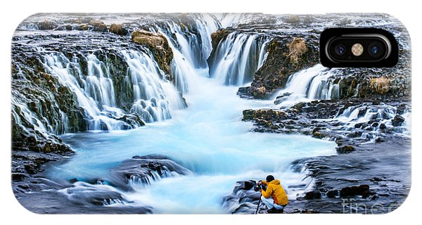 River Flow iPhone Case - Bruarfoss,iceland With The Photographer by Cusycon