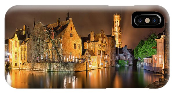 IPhone Case featuring the photograph Brugge Belgium Belfry Night by Nathan Bush