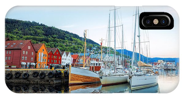 Dusk iPhone Case - Bryggen Street With Boats In Bergen by Samot