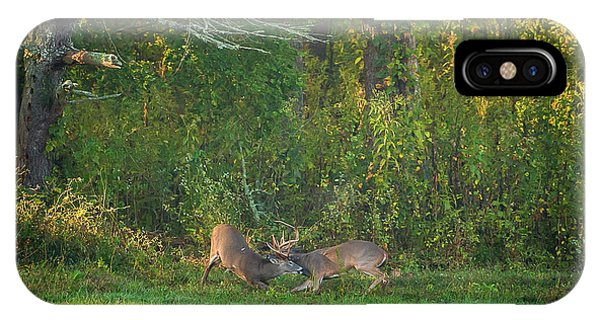 IPhone Case featuring the photograph Buck Battle by Jeff Phillippi