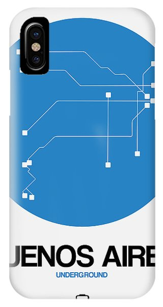 Argentina iPhone X Case - Buenos Aires Blue Subway Map by Naxart Studio
