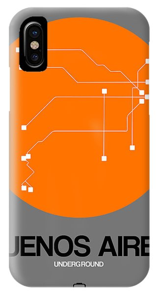 Argentina iPhone X Case - Buenos Aires Orange Subway Map by Naxart Studio