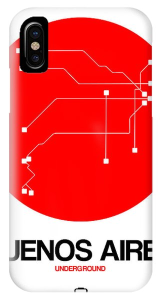 Argentina iPhone X Case - Buenos Aires Red Subway Map by Naxart Studio