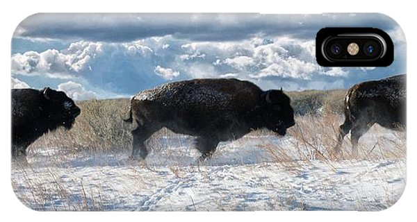 IPhone Case featuring the photograph Buffalo Charge.  Bison Running, Ground Shaking When They Trampled Through Arsenal Wildlife Refuge by OLena Art Brand