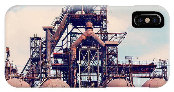 Iron iPhone Case - Building A Blast Furnace At The Steel by Mikhail Starodubov