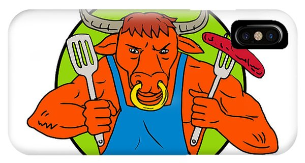 Barbeque iPhone Case - Bull Holding Barbecue Sausage Drawing Color by Aloysius Patrimonio