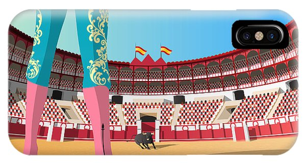 Famous People iPhone Case - Bullfighter Versus Angry Bull In Arena by Nikola Knezevic