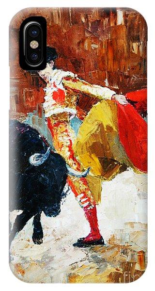 Danger iPhone Case - Bullfighting In Spain, Oil Painting by Maria Bo
