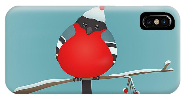 One iPhone Case - Bullfinch Sitting On Ashberry Twig by Popmarleo