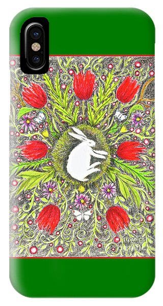 Bunny Nest With Red Flowers And White Butterflies IPhone Case