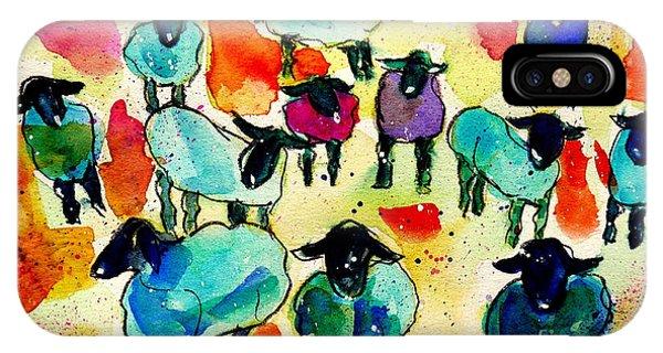 Wiese iPhone Case - Bunte Schafe by Gaby Koehler