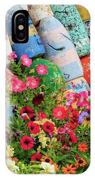 Buoys And Petunia Flowers, Rockport Phone Case by Adam Jones