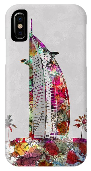 Land Mark iPhone Case - Burj Al Arab, Hotel, Dubai Land Mark, Artist Singh by Artist Singh MAPS