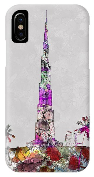Land Mark iPhone Case - Burj Al Khalifa, Worlds Tallest Bulding, Dubai Tower, Dubai Land Mark, Artist Singh by Artist Singh MAPS