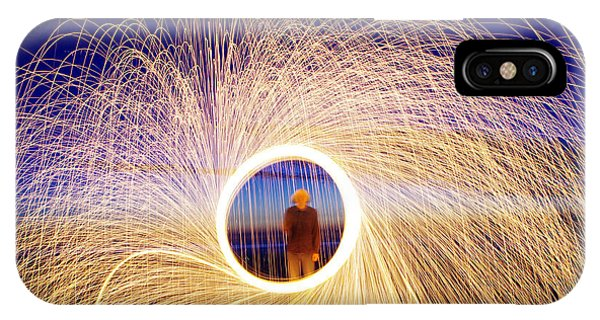 Heat iPhone Case - Burning Steel Wool Spinned Near The by Andrius saz