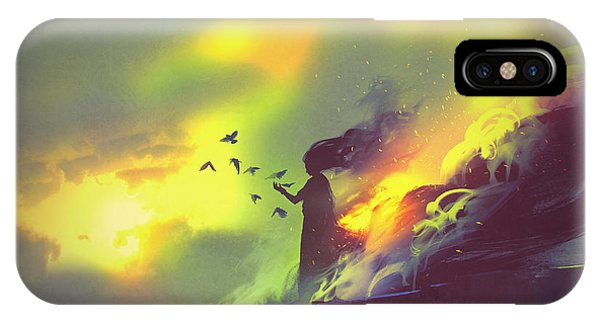Hot iPhone Case - Burning Woman Standing Against Cloudy by Tithi Luadthong