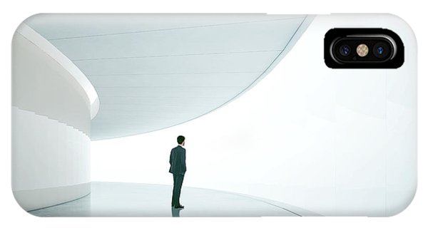 Office Buildings iPhone Case - Businessman In Front Of Wide White by Sfio Cracho