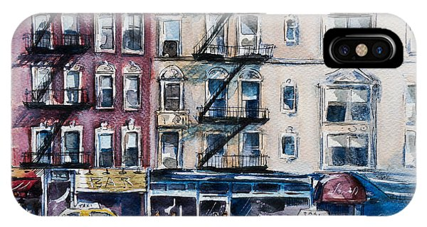 Cab iPhone Case - Busy New York Street. Watercolor Sketch by Kamieshkova