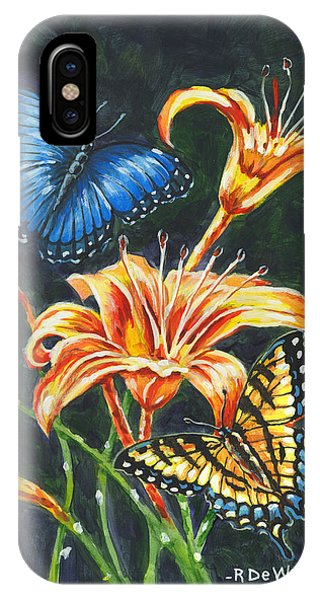 Butterflies And Flowers Sketch IPhone Case