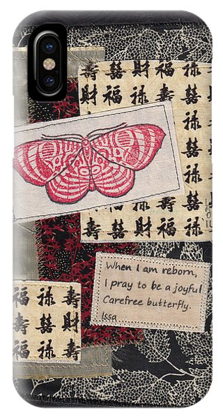 IPhone Case featuring the mixed media Butterfly Haiku By Issa by Linda Mae Olszanski