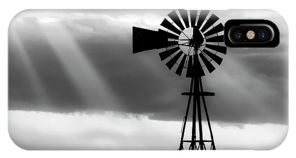 Bw Windmill And Crepuscular Rays -01 IPhone Case