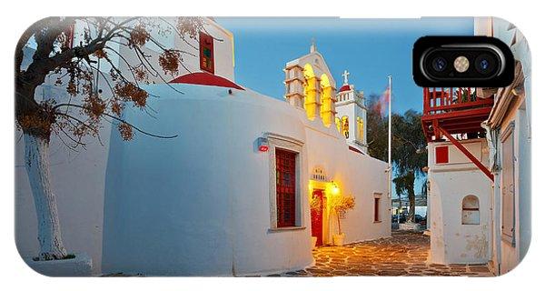 Travel Destination iPhone Case - Byzantine Church In A Street Of Mykonos by Milan Gonda