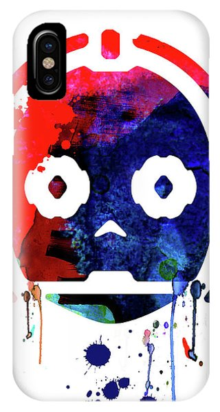 Film iPhone Case - C-3po Watercolor Cartoon by Naxart Studio