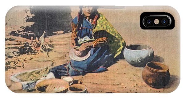 Protein iPhone Case - c1920 Moki Indian Pot Maker, Fred Harvey Arizona Color Postcard by Celestial Images