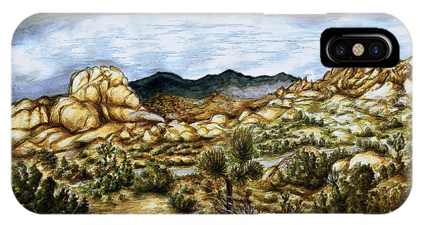 California Desert Landscape - Watercolor Art Painting IPhone Case