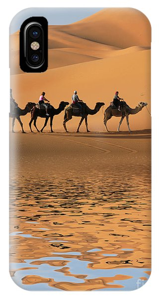 Trip iPhone Case - Camel Caravan Going Along The Lake The by Vladimir Wrangel