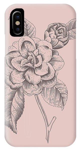 Bouquet iPhone X Case - Camellia Blush Pink Flower by Naxart Studio