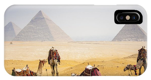 Egyptian iPhone X Case - Camels With Pyramid by Peach018