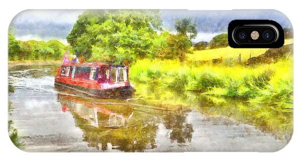 Canal Boat On The Leeds To Liverpool Canal IPhone Case
