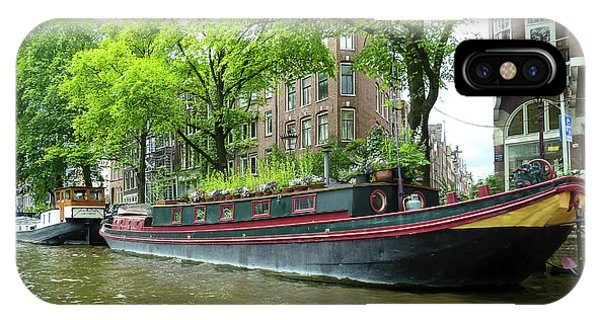 Canal Boats In Amsterdam - 2 IPhone Case