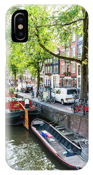 Canal Boats In Amsterdam IPhone Case