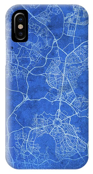 Canberra iPhone Case - Canberra Australia City Street Map Blueprints by Design Turnpike