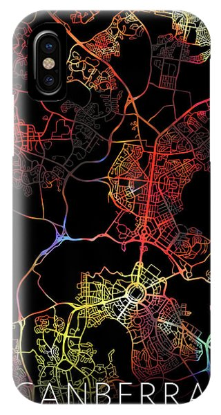 Canberra iPhone Case - Canberra Australia City Street Map Watercolor Dark Mode by Design Turnpike