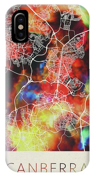 Canberra iPhone Case - Canberra Australia Watercolor City Street Map by Design Turnpike